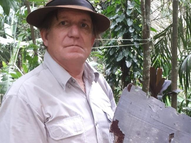American adventurer Blaine Gibson with debris thought to be from MH370 in Madagascar. Picture: Supplied