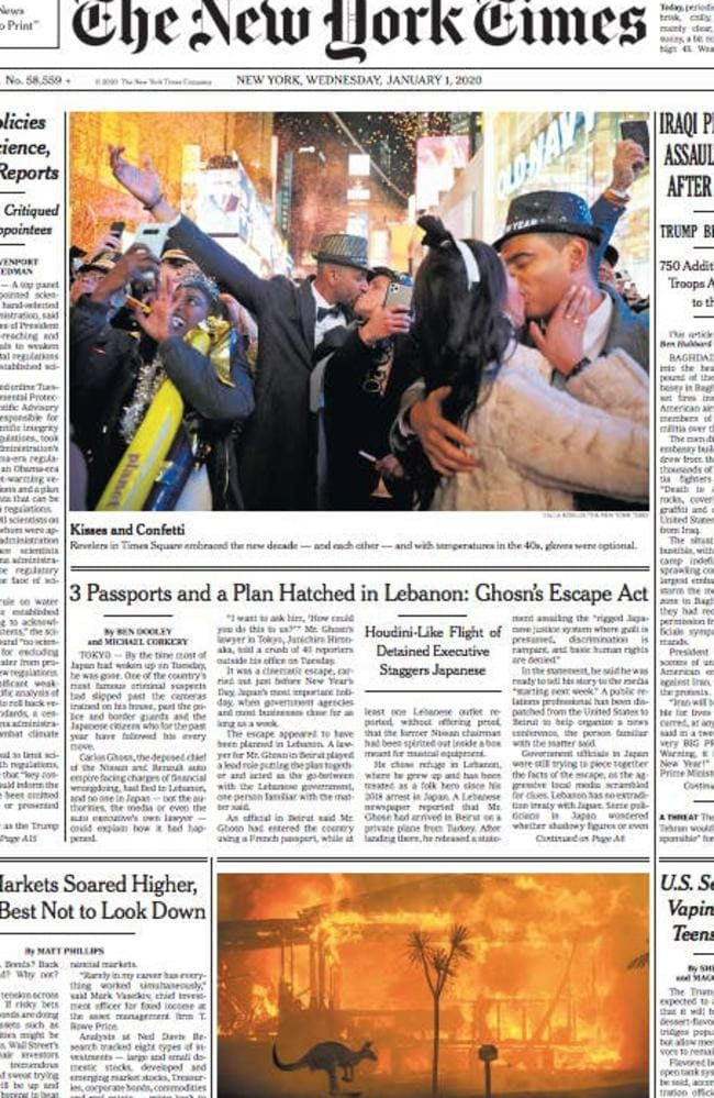 The New York Times p. 1 NYD bushfires. Picture: The New York Times