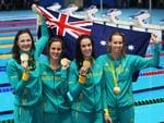 Australia's Cate Campbell, Bronte Campbell, Brittany Elmslie, Emma McKeon Gold Medal winning 4 x 100m relay team on Day 1 of the Swimming at the Rio 2016 Olympic Games. Picture. Phil Hillyard