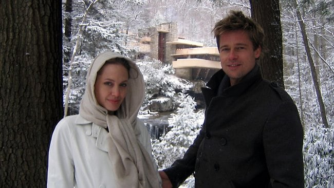 Brad Pitt and Angelina Jolie at Fallingwater for Pitt's birthday in 2006. Picture: AP
