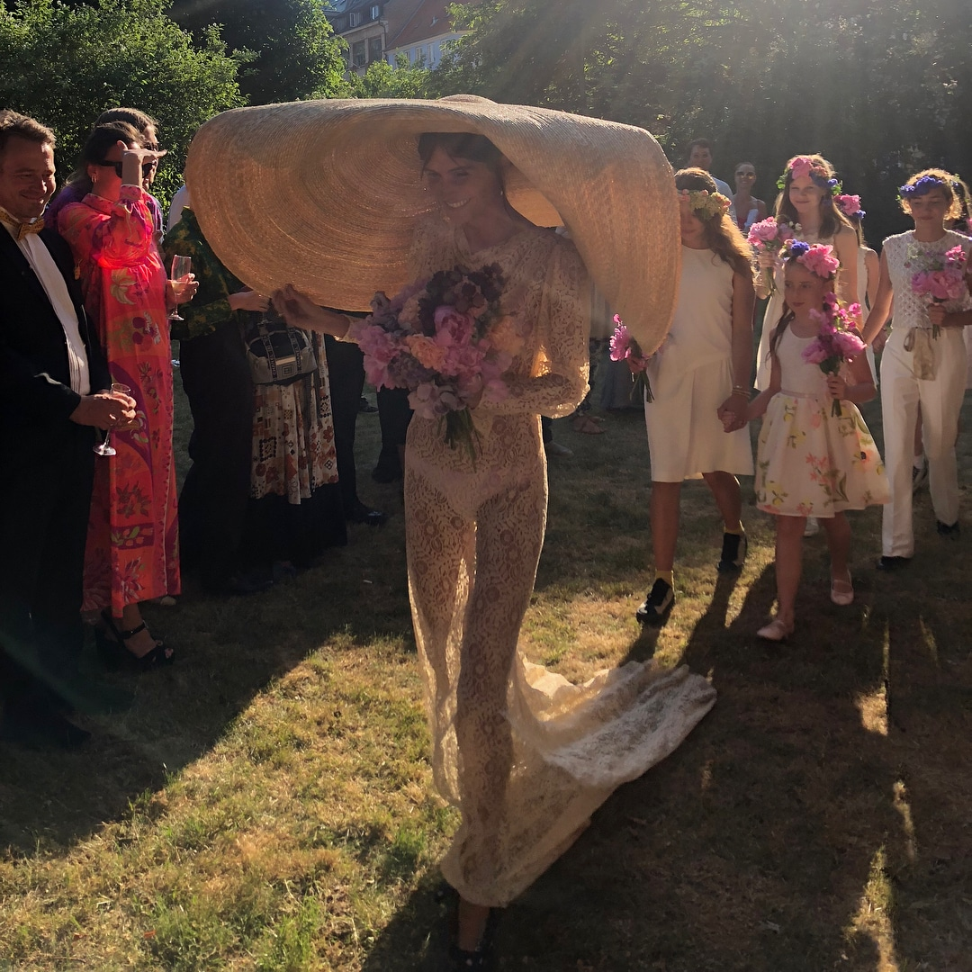 How one Danish It girl pulled off Jacquemus's massive hat at her wedding