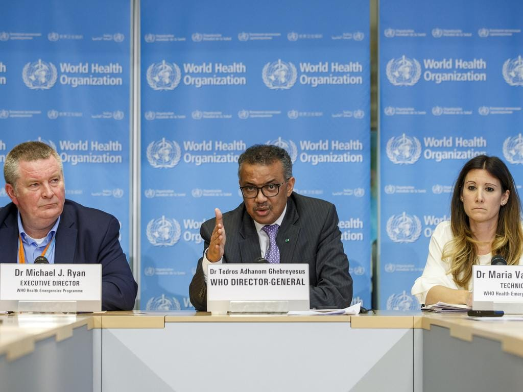 Tedros Adhanom Ghebreyesus, director general of the WHO speaks during a news conference on updates regarding COVID-19, at WHO headquarters in Geneva. Accompanying him are Michael Ryan, left, executive director and Maria van Kerkhove, technical lead. Picture: AP