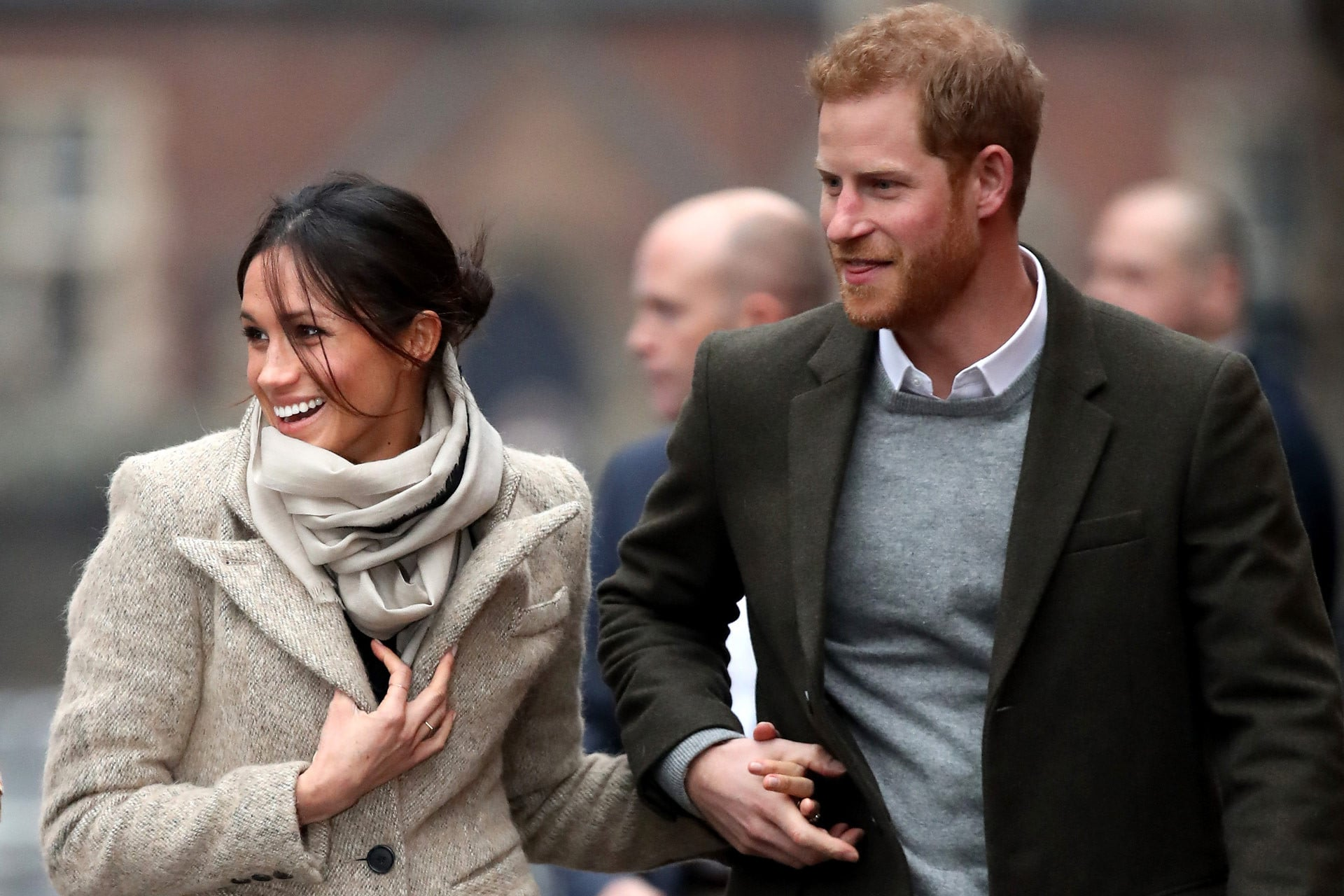 Meghan Markle showing off her favourite hairstyle with fiancé Prince Harry. Image credit: Getty Images