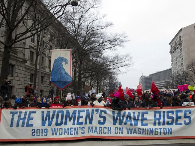 Demonstrators march on Pennsylvania Av. during the women's march in Washington DC. Picture: AP