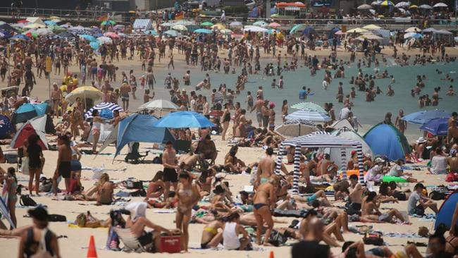 Crowds at Bondi Beach today for Australia Day. Picture: Tim Hunter.