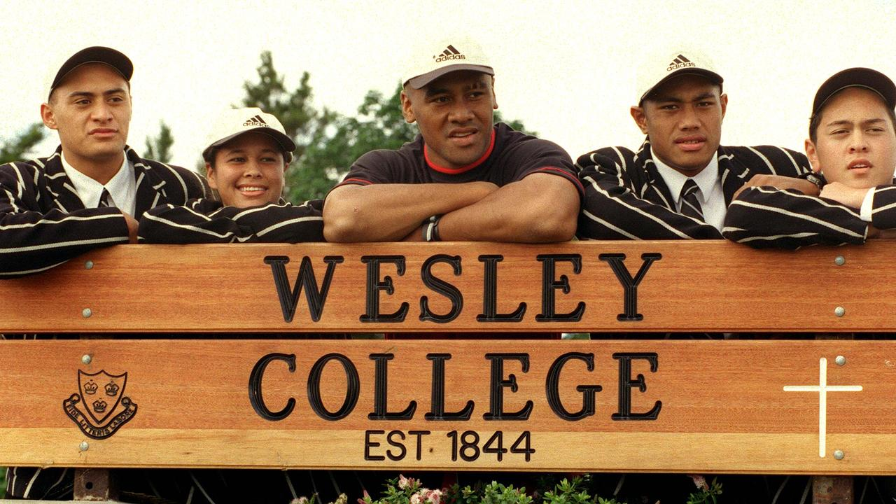 Jonah Lomu returned to his old school Wesley College.