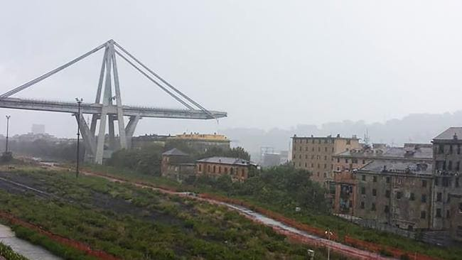 A collapsed section of the Genoa bridge. Picture: Facebook