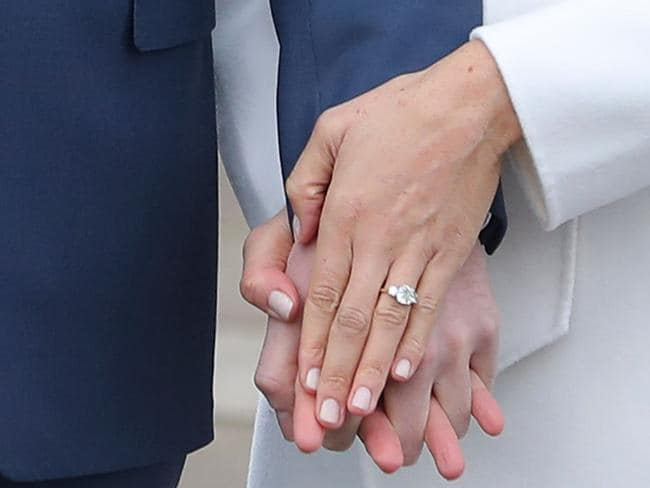 Meghan Markle's engagement ring is half the value of Eugenie's, according to a gem expert. Picture: AFP/Daniel Leal-Olivas