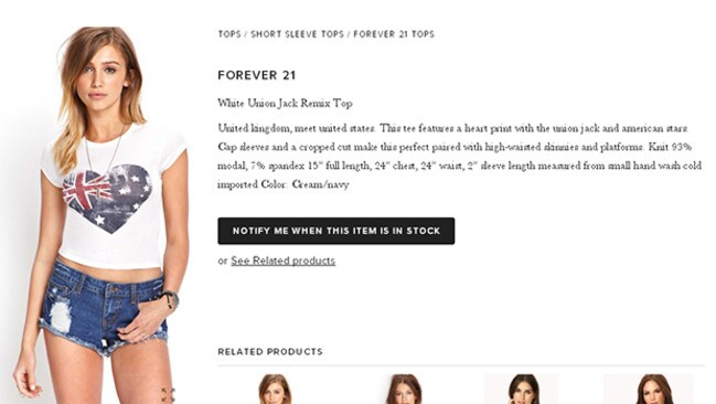 Reddit points out Forever 21 'Union Jack Remix' top is actually the