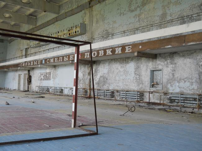 Indoor gymnasium sits covered in dust. Picture: David Holt London.
