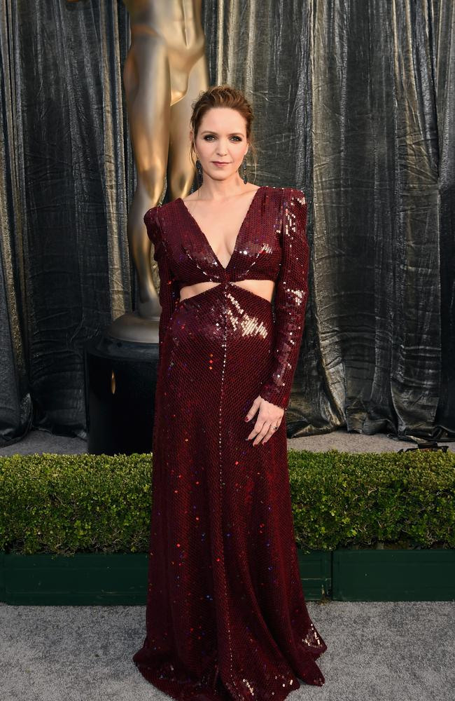 Ozark's Jordana Spiro looks unreal in red sequins. Picture: Dimitrios Kambouris/Getty Images for Turner