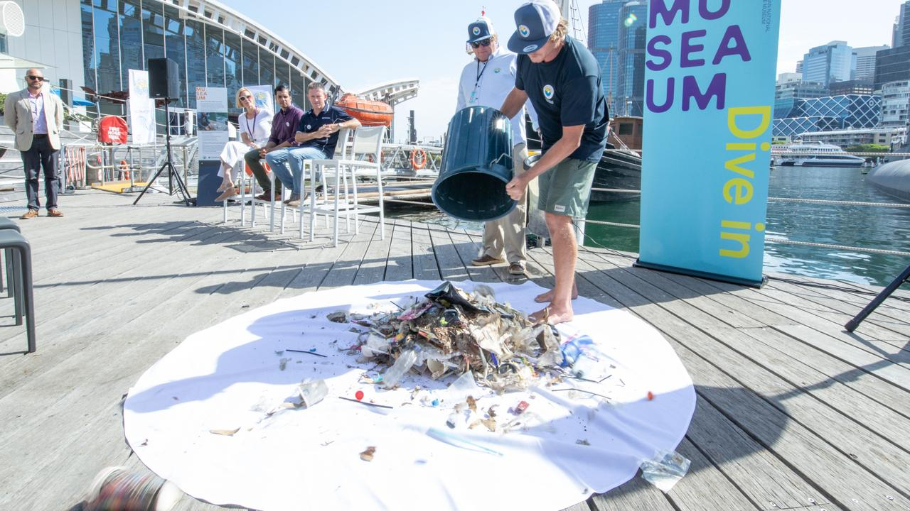 Less than a year after Seabins were first demonstrated in Australia, there are 435 being used around the world. Two were installed in Sydney, NSW this week. Here's some of the rubbish already collected. Picture: supplied