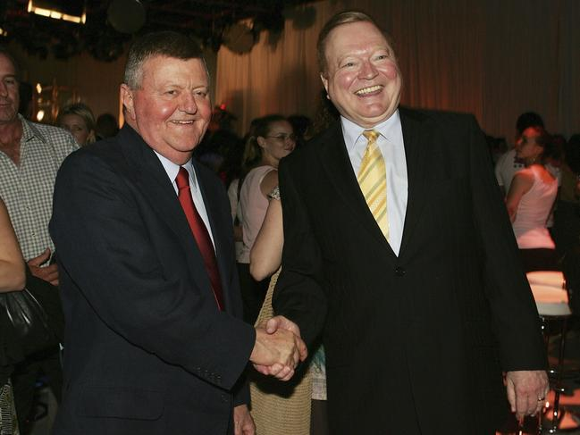 Kerry's Packer's former right hand man Sam Chisholm (left) with Bert Newton. Picture: Patrick Riviere/Getty Images.