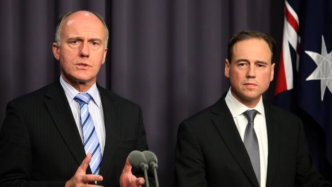 Senator Eric Abetz, left, and Federal Health Minister Greg Hunt.