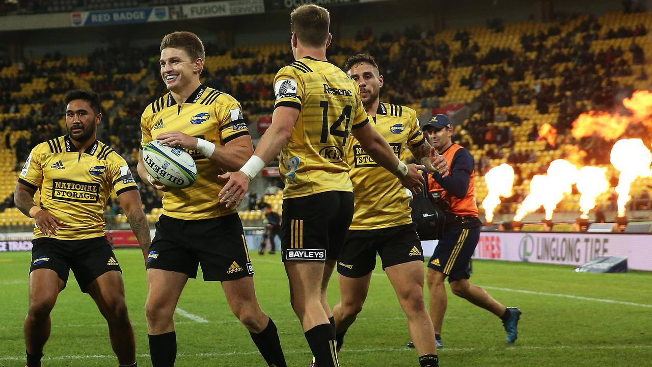 Beauden and Jordie Barrett celebrate a try at Westpac Stadium.