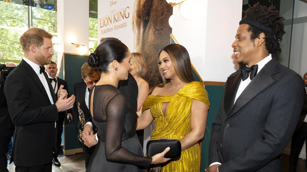 The Duke and Duchess of Sussex met Beyonce Knowles-Carter and Jay-Z at the premiere. Picture: Niklas Halle'n/Getty Images