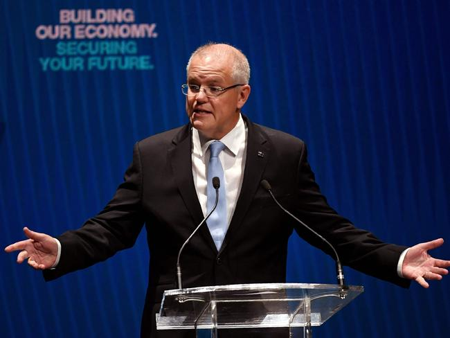 Prime Minister Scott Morrison launching his first homebuyer scheme. Picture: William West