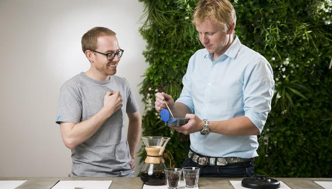 Barista trainer Matt Brown and Dr Adam Carr want to find the right water to make the perfect cup of coffee. Picture: Dylan Robinson