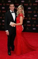Tom Rockliff of Brisbane and Sharna Roelandts arrive at the 2016 Brownlow Medal Count.