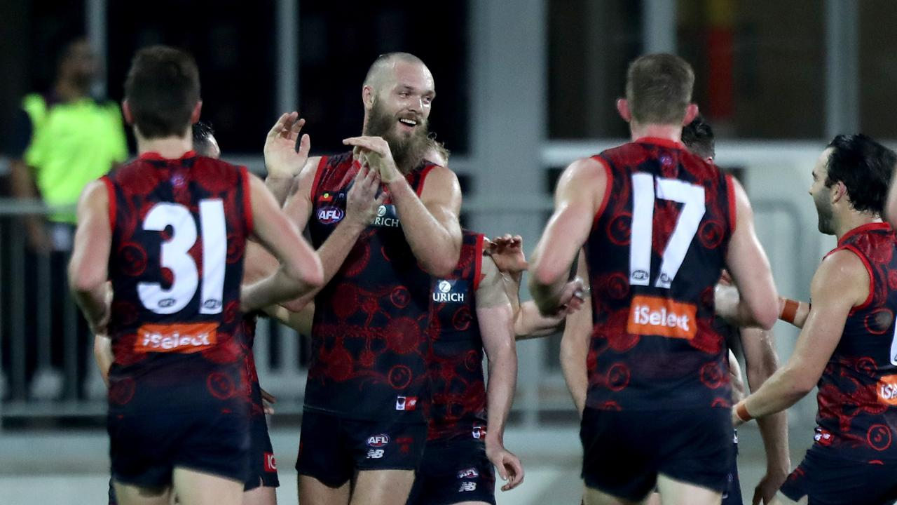 Max Gawn celebrates after kicking a goal at three-quarter time.
