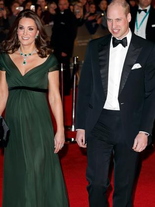 A pregnant Kate, alongside husband Prince William, attended the BAFTAs. Picture: Max Mumby/Indigo/Getty Images