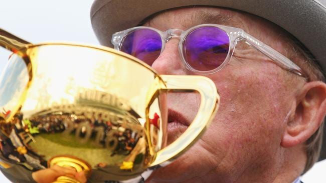 Almandin's owner Lloyd Williams celebrates victory at the Melbourne Cup last year. Picture: Michael Dodge/Getty Images