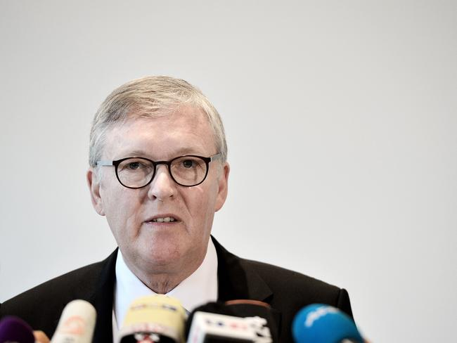 Sombre: ... Thomas Winkelmann, chief executive officer of Germanwings, during a press conference in Cologne. Picture: Getty
