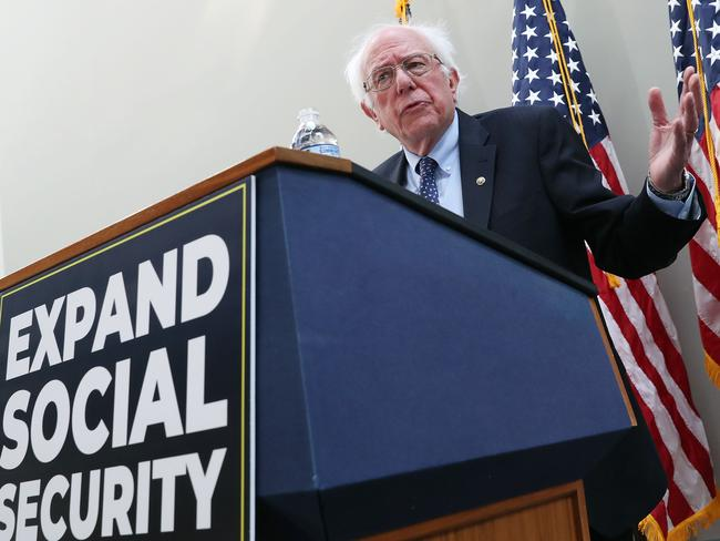 Senator Bernie Sanders (I-VT) speaks during a news conference. Picture: Getty