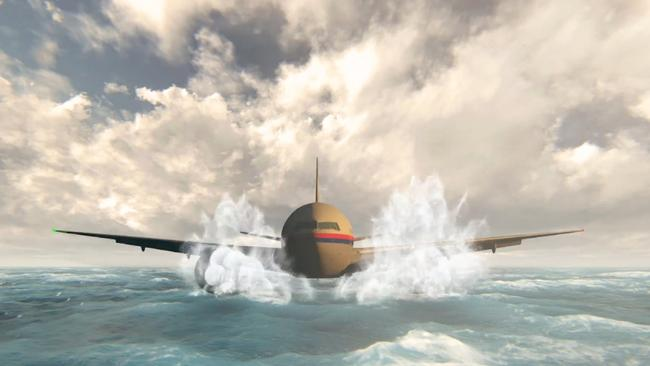 An artist's imagining of MH370 hitting the ocean, which appeared on 60 Minutes.