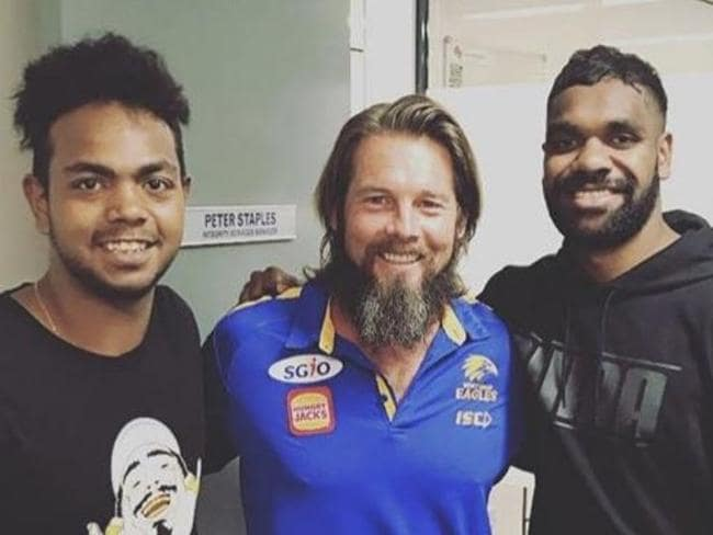 Eagles players Willie Rioli and Liam Ryan with former star Ben Cousins.Picture: Instagram / wjrioli17