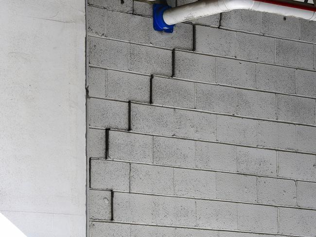 A crack is seen in the structure of the Mascot Towers. Picture: Bianca De Marchi/AAP