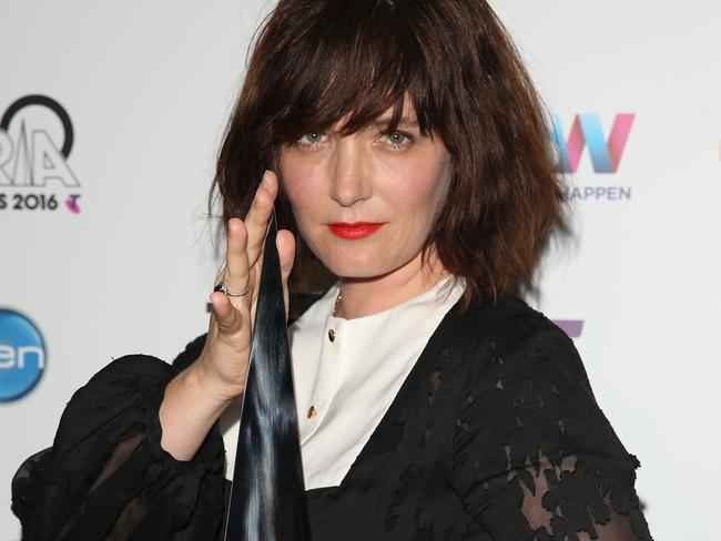 Sarah Blasko poses in the awards room with an ARIA for Best Adult Alternative Album. Picture: Getty