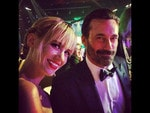 Behind The Scenes Emmy Awards 2014... Actors January Jones and Jon Hamm. Picture: Instagram