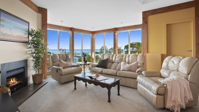 Ocean views are a highlight of the first floor living area.