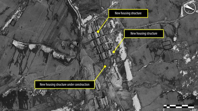Satellite images released in 2013, such as this one, appear to show the huge size of a North Korean political prison camp. Picture: Amnesty International