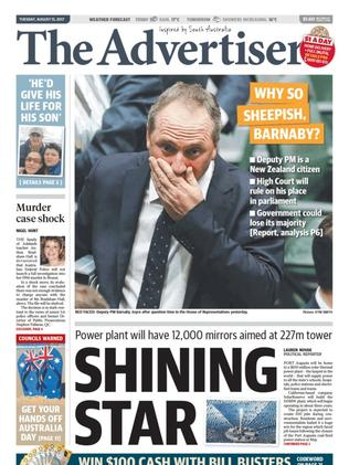 Adelaide's Advertiser asked why Barnaby was feeling 'sheepish'.
