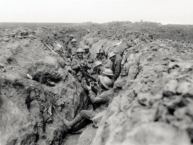 Australians in the second line of the trenches before near Bullecourt in May 1917, cleaning their rifles in readiness for an attack. Picture: Australian War Memorial