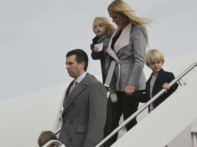 Donald Trump Jr., with his wife Vanessa and children. Picture: AFP