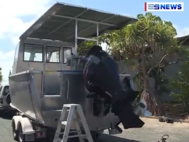 The seven-metre boat. Picture: Nine News