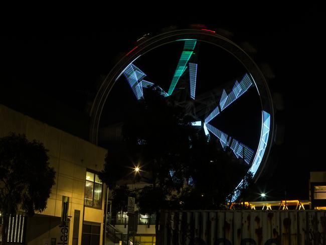 The Melbourne Star Observation Wheel lights up at night. Picture: Sarah Matray