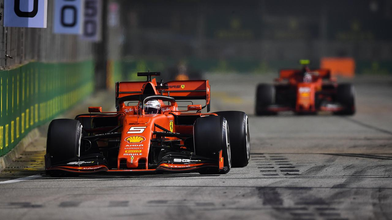 Vettel leads Leclerc during the race.