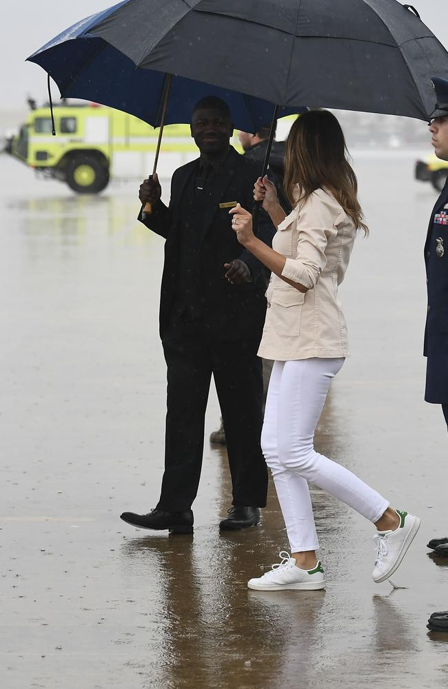The jacket was gone when she landed in Texas. Picture: AFP