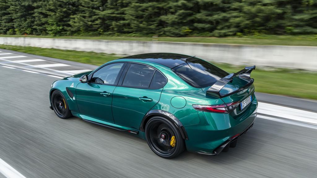 The Giulia GTAm has a massive rear wing.