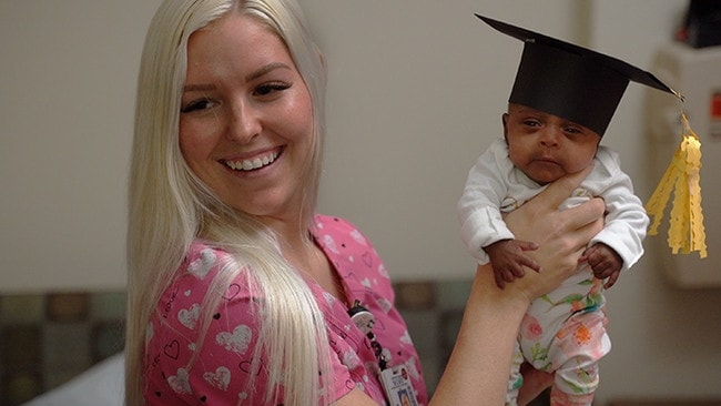 Baby Saybie weighed 7g less than the previous world's smallest surviving baby born in Germany in 2015. Picture: Sharp Mary Birch Hospital
