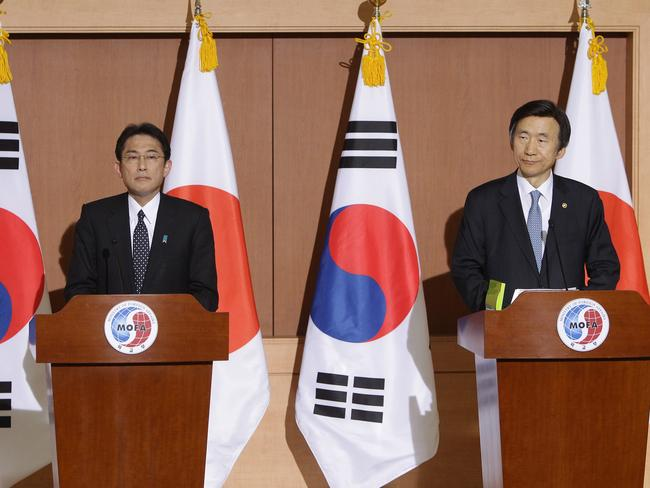 In talks ... South Korean Foreign Minister Yun Byung-Se attends the joint press conference with Japanese Foreign Minister Fumio Kishida at foreign ministry in Seoul, South Korea. Picture: Chung Sung-Jun/Getty