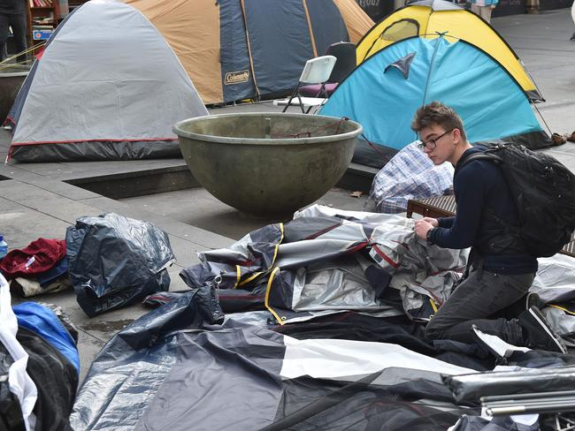 The tent city was dismantled on Friday after political wrangling over who was responsible for the plight of those sleeping rough in the midst of winter sparked the introduction of new laws. Picture: AFP/Peter Parks