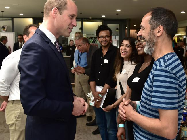 Prince William, Duke of Cambridge meets those affected by the tragedy. Picture: Getty