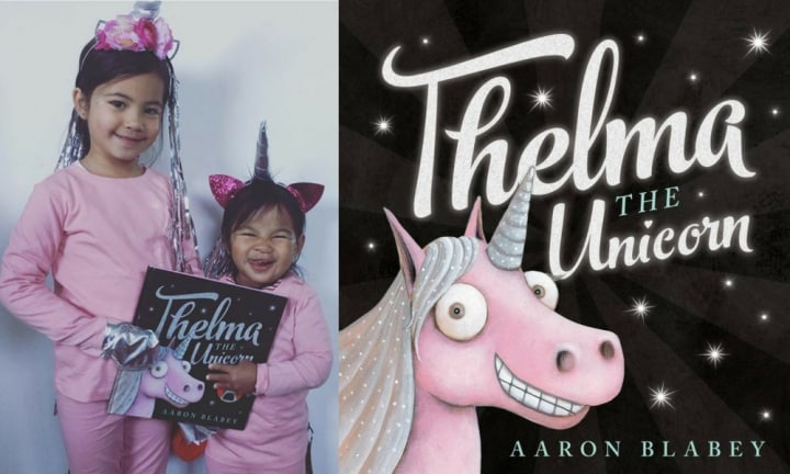THELMA THE UNICORN. We especially love it when siblings coordinate their costumes.