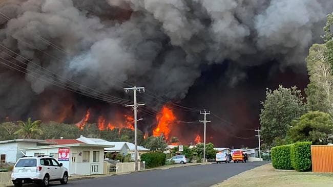 Hell on earth … The scene in Harrington posted on Facebook by Kelly-ann Oosterbeek.