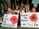 Siblings Siarna, Harper, Ashton, Mariah at the Anzac Day memorial parade, Adelaide. Picture: Tricia Watkinson